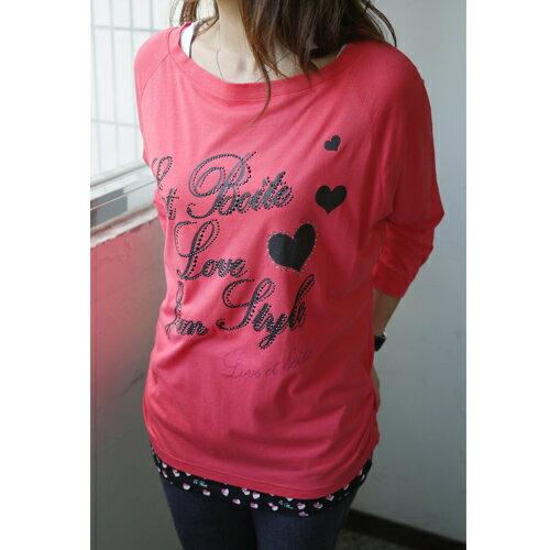【ET BOîTE 箱子】愛心貼鑽長袖T恤(桃粉) 0