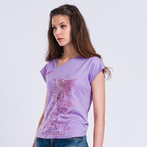 【ET BOiTE 箱子】印花斜領T恤〈紫〉 0