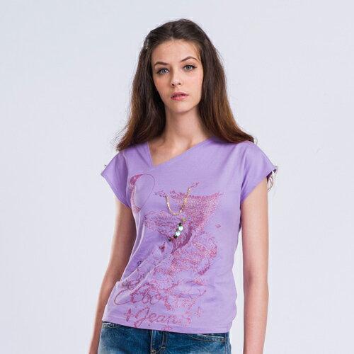 【ET BOiTE 箱子】印花斜領T恤〈紫〉 1