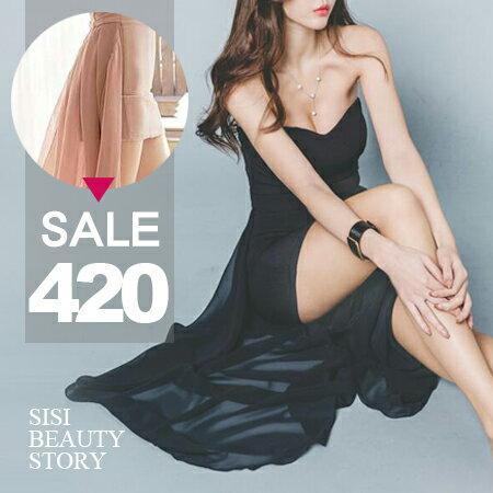 SISI【D6097】性感禮服平口短款包臀超長燕尾不規則裙尾襬連身裙洋裝