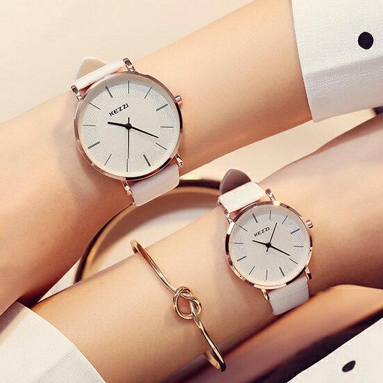 復古PU皮革中性簡約石英大圓錶