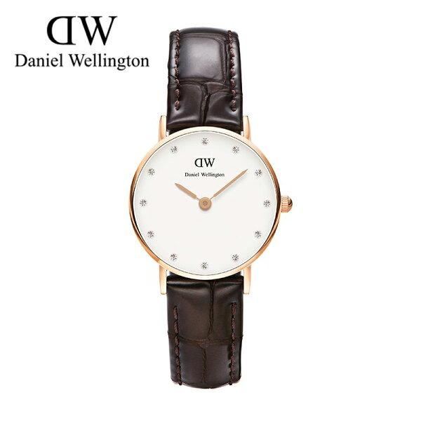 瑞典正品代購 Daniel Wellington 0902DW  玫瑰金鑽  真皮 錶帶 男女錶 手錶腕錶 26MM