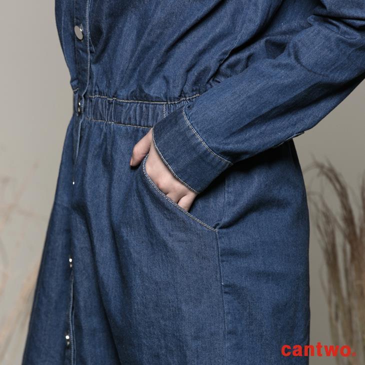 cantwo丹寧襯衫式長袖洋裝(共一色) 5