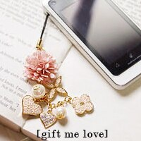 LV風十字花珍珠多墜飾 繡球花 手機吊飾/水鑽耳機塞/鑰匙圈ML08【Gift Me Love 愛禮】正韓國製