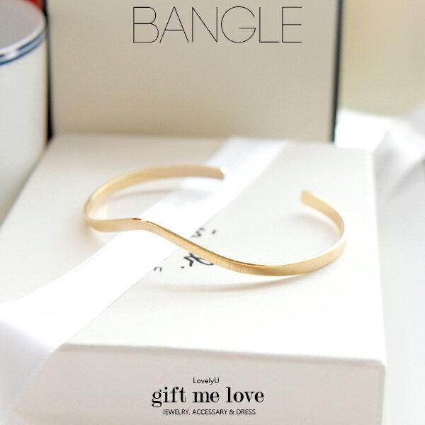 幾何線條簡約波浪 高質感毛絲面C型開口金屬手環B101【Gift Me Love 愛禮】歐美時尚