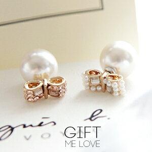歐美迪奧長方蝴蝶結 滿水鑽寶石珍珠耳後珍珠雙面耳環BB41【Gift Me Love 愛禮】歐美時尚 正韓國製