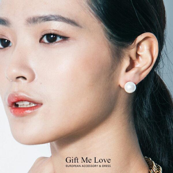 (大款)韓國產 淡水養珠 圓潤珍珠 925純銀耳針耳環CR32【Gift me love 愛禮】歐美時尚經典
