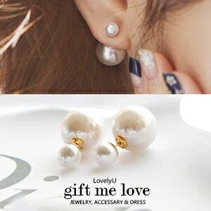 高級工藝鍍18K玫金 雙面珍珠耳環EE21【Gift Me Love 愛禮】歐美迪奧風 正韓國 耳後大珍珠