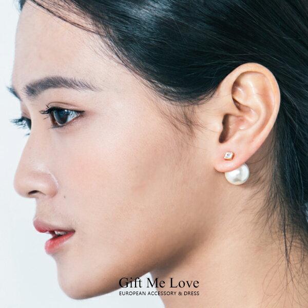 歐美時尚 迪奧風 不對稱方水鑽設計 耳後大珍珠 925純銀耳針 雙面耳環N127【Gift Me Love 愛禮】正韓國製