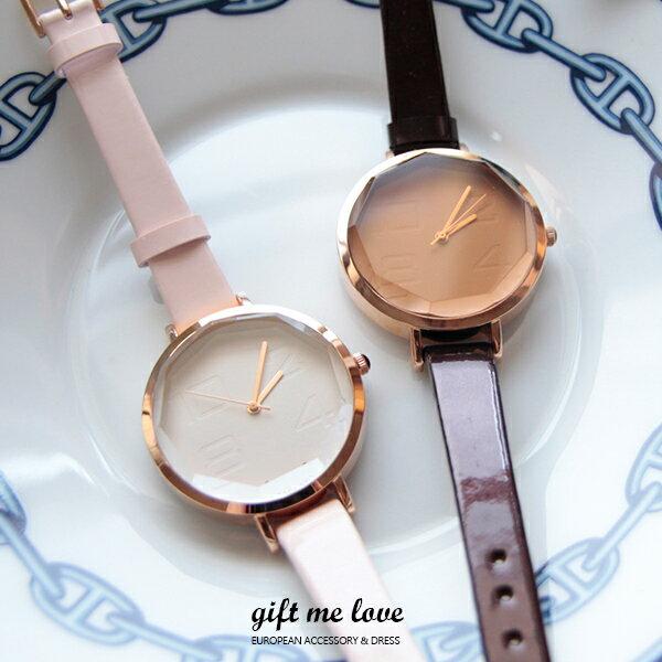 正韓空運 鏡面切割 香檳金壓紋 日本機芯 真皮手錶 歐美時尚搭配必備E106【Gift me love 愛禮】