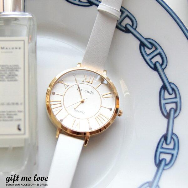 正韓高質感 水鑽點綴 羅馬數字 真皮手錶E112歐美時尚搭配必備