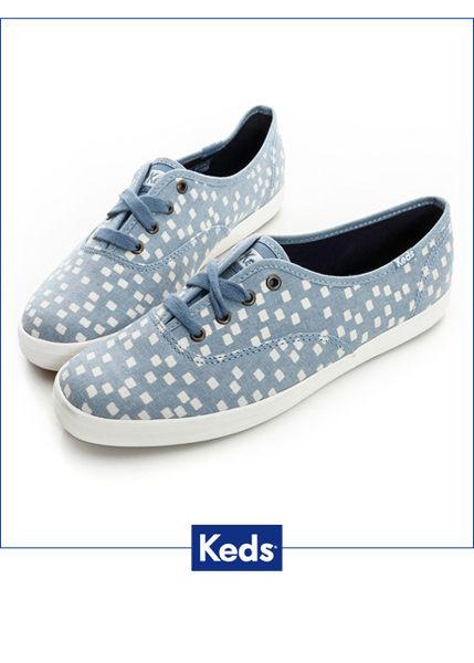Keds 雪花片片綁帶休閒鞋-淺藍/方塊 0