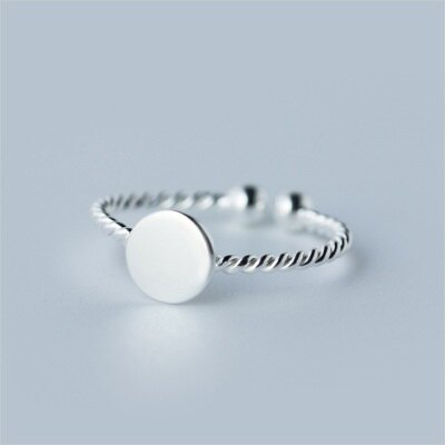 925純銀戒指開口戒~光面圓形麻花 情人節生日 女飾品73dt192~ ~~米蘭 ~ ~