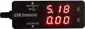 雙 USB 電壓電流測試儀 雙USB充電[電流A]及[電壓V] 測試器 電壓電流雙顯示 【電力屋】