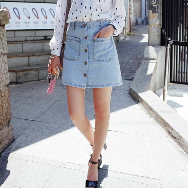 大口袋單排釦牛仔裙