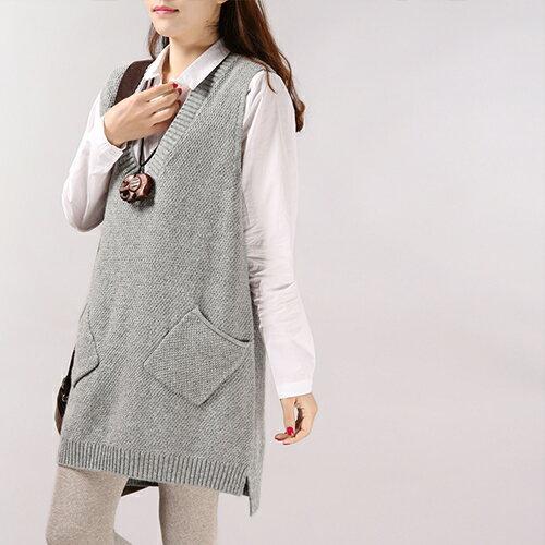 毛衣 - 大V領前短後長大口袋無袖針織衫【29157】藍色巴黎《5色》現貨 + 預購 1