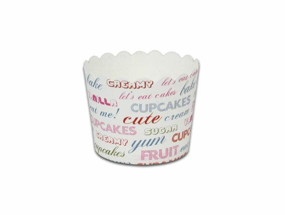 瑪芬杯、杯子蛋糕、烘烤紙杯 MF5040-10 白底英文(50pcs/包)