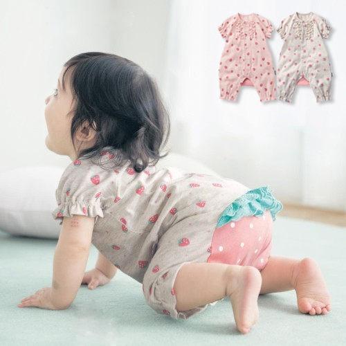 包屁衣兔裝 夏款女童小草莓短袖連身衣