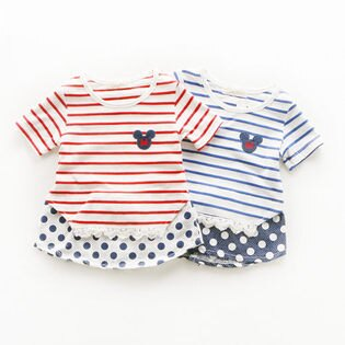 T恤上衣 夏款女童條紋蕾絲 拼接點點下擺短袖上衣