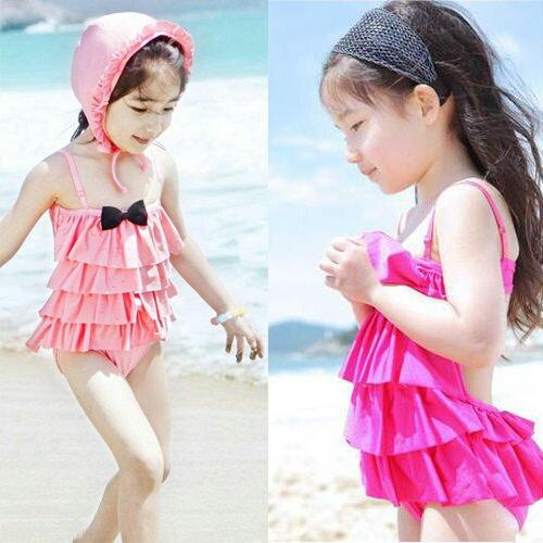 童泳裝 女童小蝴蝶結波浪露背連身泳衣(肩帶可調)含泳帽