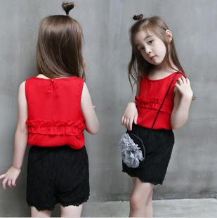 套裝 夏款韓版女童雪紡花邊無袖背心+短褲套裝