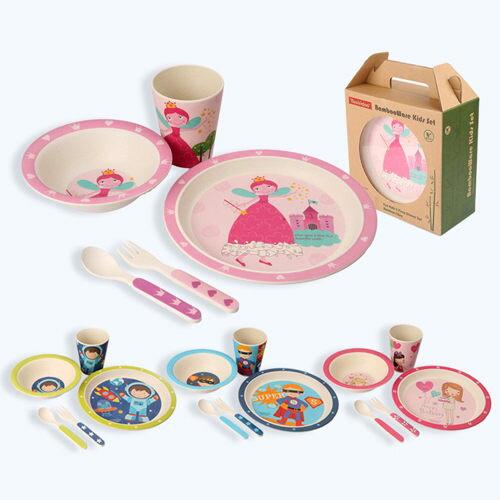 兒童餐具組 竹纖維餐盤5件套組禮盒