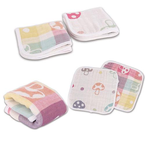 洗臉巾手帕 蘑菇六層紗布新生兒洗臉巾 洗澡巾 手帕