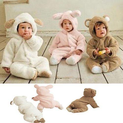 AIB 小舖^~ 小羊動物 爬服 含帽子長袖連身衣 加厚 保暖 全棉 絨毛 W61002