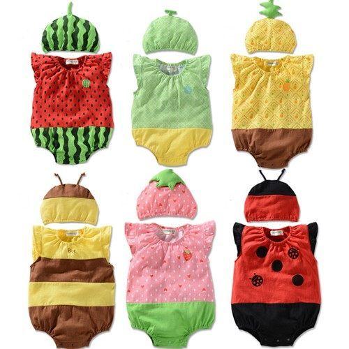 童連身衣兔裝 夏款水果造型含帽子連身衣兔裝