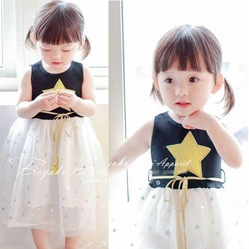 連衣裙洋裝 女童星星柔軟網紗腰帶連衣裙洋裝