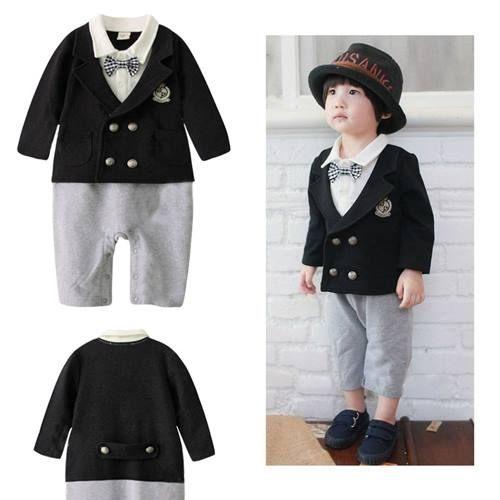 長袖連身兔裝  男童假兩件黑色西裝外套連身衣