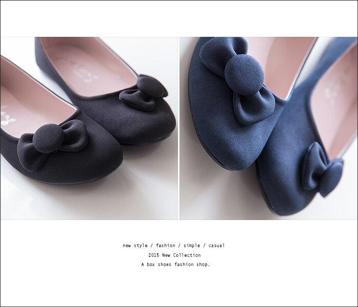 格子舖*【AI715】MIT台灣製 基本款質感麂皮蝴蝶結 圓頭平底包鞋 娃娃鞋 懶人鞋 2色 2