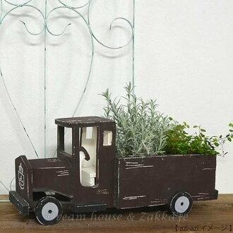 日本 azi-azi 鄉村風 Zakka 咖啡 仿舊卡車造型花器/花盆 適合多肉和種子盆栽喔《日本原裝進口》 ★Zakka'fe