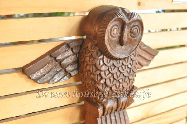 仿舊復古 實木雕刻 貓頭鷹 掛勾 《 單勾 》★ 掛上東西貓頭鷹會展翅喔 ★ Zakka'fe