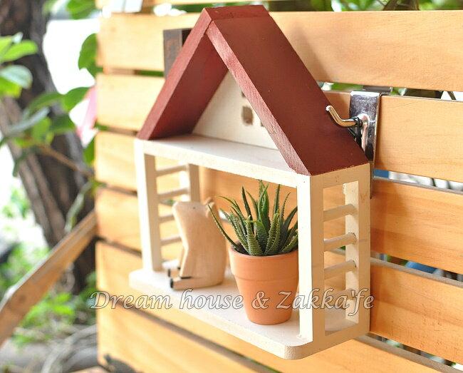 Zakka 鄉村風 仿舊木製 屋子 迷你單層置物架 展示架~可吊掛也可擺放~~ 可當拍照道
