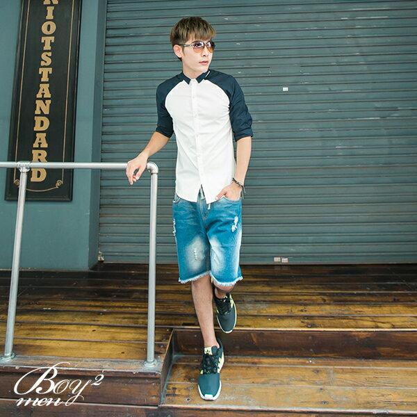 ☆BOY-2☆【NAA608】韓版潮流拼接七分袖襯衫 4