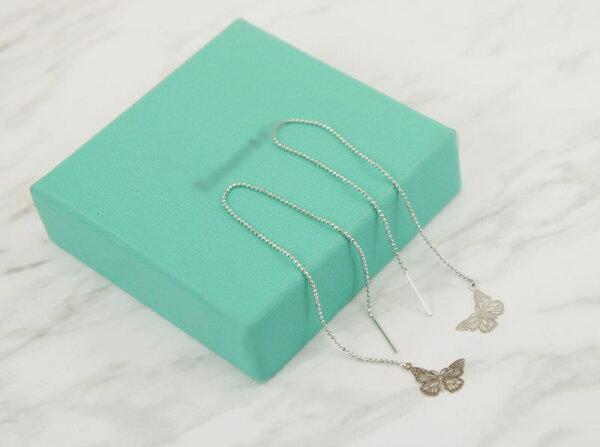2384093簍空蝴蝶活動式金屬鍊條耳環、耳扣、耳勾、耳針、耳飾