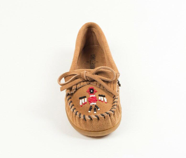 【Minnetonka 莫卡辛】土駝色 - 磨砂牛皮、豆豆底、流蘇、蝴蝶結、串珠、雷鳥二代 3