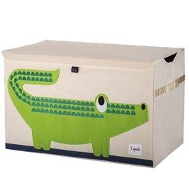 【淘氣寶寶】加拿大 3 Sprouts 大型玩具收納箱-小鱷魚【超大容量造型玩具箱,可摺疊收納,加蓋防塵】【保證公司貨●品質保證】