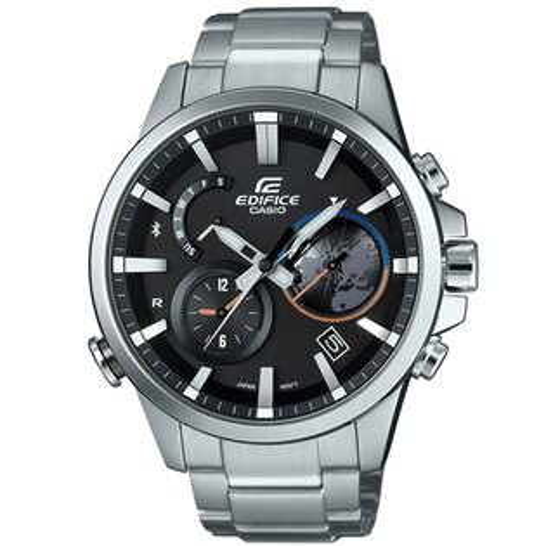 CASIO EDIFICE EQB-600D-1A北極地圖藍牙時尚腕錶/黑面47.3mm