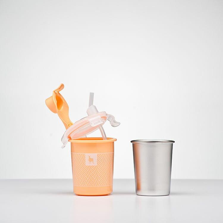 美國【Kangovou】 小袋鼠不鏽鋼安全兒童餐具簡配組(奶油橘) 2