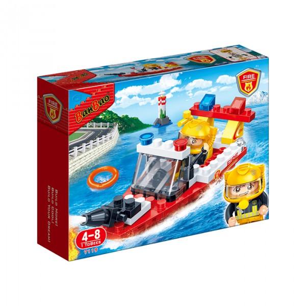 【BanBao 積木】新消防系列-消防艇 7119  (樂高通用) (滿2000元再送積木回力車一盒)