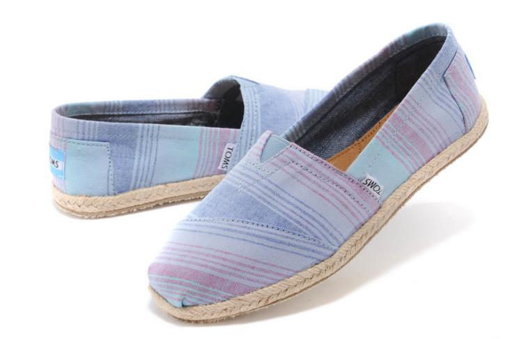 [女款] 國外代購TOMS 帆布鞋/懶人鞋/休閒鞋/至尊鞋 亞麻系列  亞麻底彩條藍 2