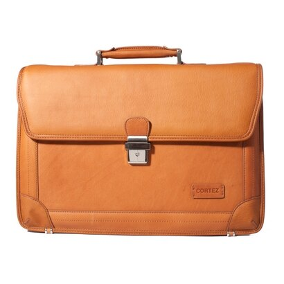 Woodland Leather Accountant Classic Single Clasp Leather Briefcase (tan) 0