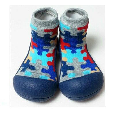 【本月特價$599】韓國【Attipas】快樂腳襪型學步鞋-藍底拼圖 - 限時優惠好康折扣