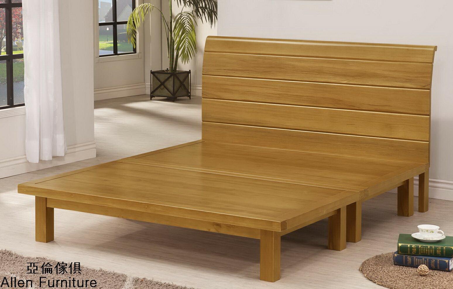 亞倫傢俱*貝利亞紐松全實木5尺雙人床架 0