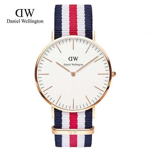 瑞典正品代購 Daniel Wellington 0102DW 玫瑰金 尼龍 帆布錶帶 手錶腕錶 40MM