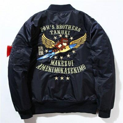 空軍夾克 MA1外套(單件)-狐狸刺繡加厚立領男女外套3色72av20【獨家進口】【米蘭精品】