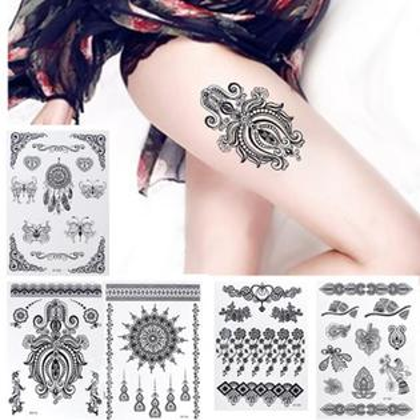 50%OFF【L014624DN】2016外貿新款高品質HENNA漢娜黑色蕾絲紋身貼17款黑色手貼