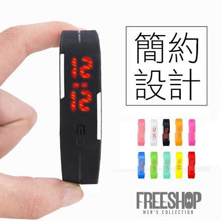 手環 Free Shop【QFS018】日韓系潮流糖果色系時尚LED感觸控式電子手環錶情侶錶運動錶果凍錶